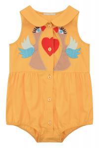 Tutina gialla con cuore rosso e uccelli multicolore