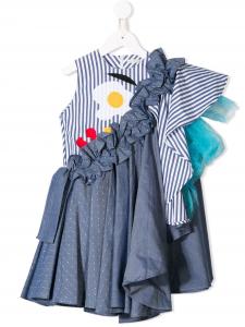 Vestito blu monospalla con toppe multicolore