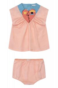 Vestito pesca con cuore rosa e pantaloncino