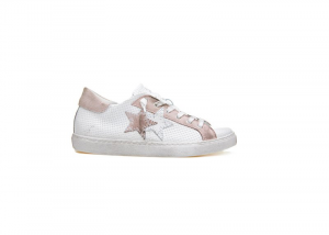 Sneaker 2 star low donna in pelle intrecciata bianco rosa