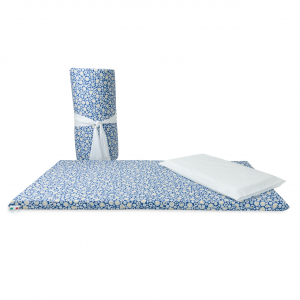 Set materassino per lettino da campeggio con cuscino e federa in fantasia orsetto blu