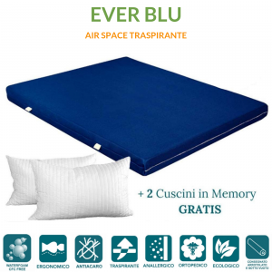 Materasso EVER Blu in Waterfoam ORTOPEDICO alto 15 cm con Cuscini in Memory Foam GRATIS Rivestimento in AIR SPACE tessuto Traspirante Antiacaro per tutti Letti o Reti