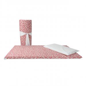 Set materassino per lettino da campeggio con cuscino e federa in fantasia orsetto rosso