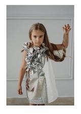 Vestito argento con fiori