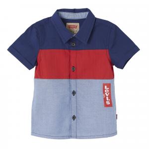 Camicia blu, rossa e bianca con stampa logo rosso