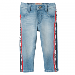 Jeans con bande e stampe logo nero