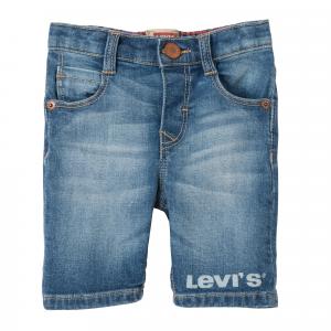 Pantaloncino di jeans con stampa logo bianco
