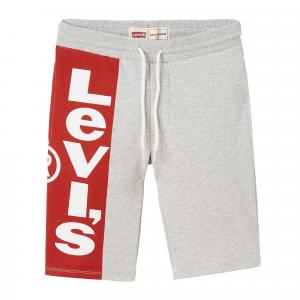 Pantaloncino grigio con banda rossa e logo bianco