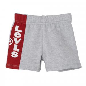 Pantaloncino grigio con banda rosso e logo bianco