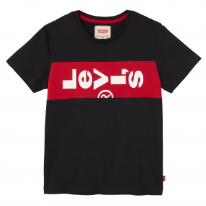 T-Shirt nera con stampa banda rossa e logo bianco