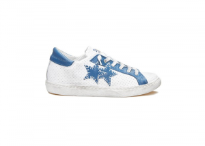 Sneaker uomo 2 star low bianco-azzurro