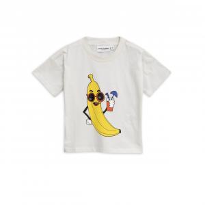T-Shirt panna con stampa banana gialla