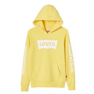 Felpa gialla con stampe e logo bianchi