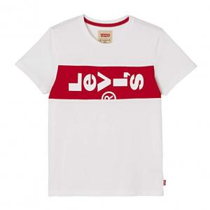 T-Shirt bianca con stampa banda rossa e logo bianco