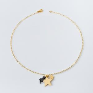 Collana girocollo in argento 925% ciondolo stelle e gatto