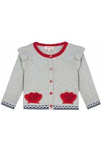 Cardigan grigio con ricami rossi, blu e bianchi