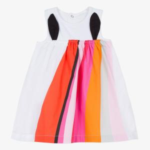 Vestito bianco con dettagli multicolore