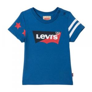 T-Shirt blu con bande, stelle e stampa logo