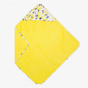 Accappatoio bianco con stampe mimose gialle, blu e nere