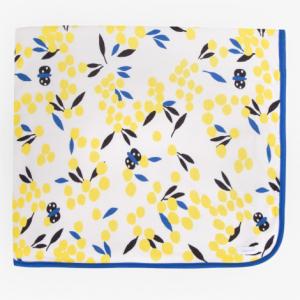 Coperta bianca con stampe mimose gialle, blu e nere