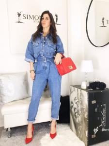 Tuta Andrea in jeans intera con bottoni frontali e cintura i vita