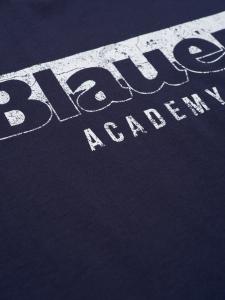 T shirt m/c in cotone con stampa blauer girocollo