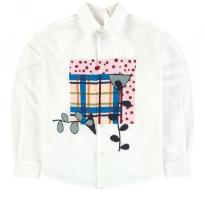 Camicia bianca con stampa multicolore