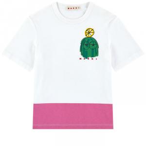 T-Shirt bianca con stampa verde e fondo rosa