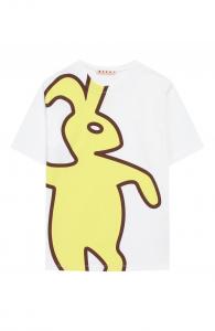 T-Shirt bianca con stampa coniglio giallo e marrone