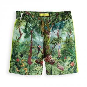 Costume da bagno con stampe giungla multicolore