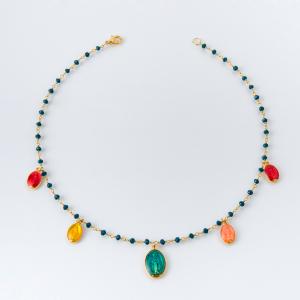 Collana girocollo in ottone galvanizzato con madonnine miracolose