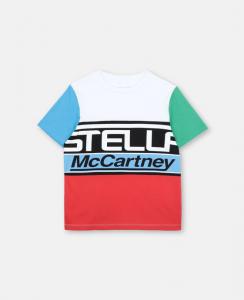 T-Shirt bianca con stampa scritta e dettagli multicolore