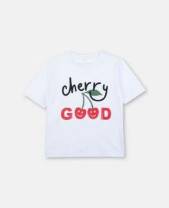 T-Shirt bianca con stampa scritta nera e rossa