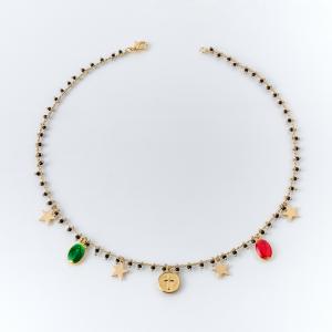 Collana girocollo in ottone galvanizzato madonnine miracole, croce e stelle