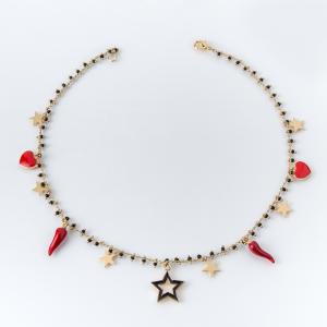 Collana girocollo in ottone galvanizzato stelle cuori e cornetti