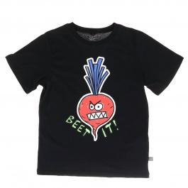 T-Shirt nera con stampa ravanello multicolore