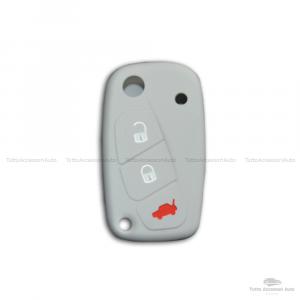 Cover Colorata Protezione In Silicone Morbido Per Scocca Guscio Chiave 3 Tasti Pieghevole Auto Fiat Grande Punto, Panda, Stilo, Bravo, Ducato, Ulysse (Grigio)