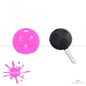 Cover Guscio Colorato Case Materiale Silicone Morbido Per Scocca Chiave Telecomando 3 Tasti Autovetture Smart 450 Fortwo Coupe' Vari Colori (Fucsia)
