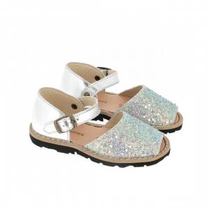 Sandali argento e celesti glitter con fibbia