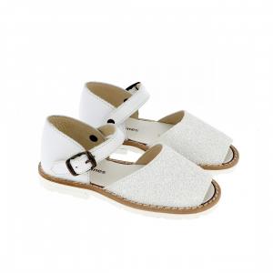 Sandali bianchi glitter con fibbia