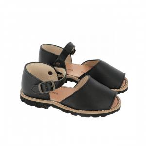 Sandali neri con fibbia