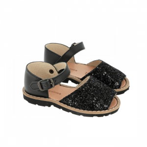 Sandali neri glitter con fibbia