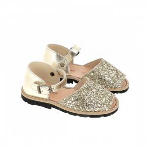Sandali oro glitter con fibbia