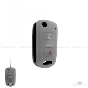 Cover Colorata Protettiva In Silicone Morbido Per Scocca Guscio Chiave 3 Tasti Pieghevole Auto Hyundai Kia Copertura Del Telecomando Disponibile In Vari Colori (Grigio)