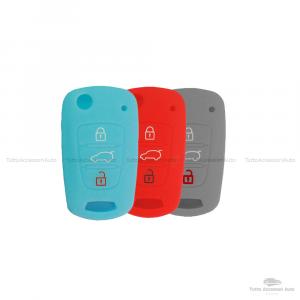 Cover Colorata Protettiva In Silicone Morbido Per Scocca Guscio Chiave 3 Tasti Pieghevole Auto Hyundai Kia Copertura Del Telecomando Disponibile In Vari Colori (Turchese Rosso Grigio)