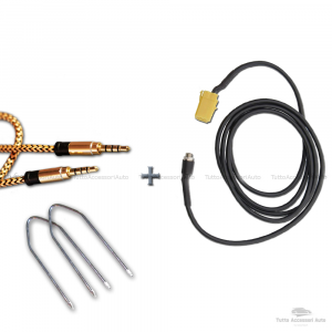 Cavo Aux In Autoradio Blaupunkt Jack Femmina Da 3,5Mm Lunghezza 150Cm + Kit Estrazione + Cavo Nylon Besync Colore Oro (Gold) Mp3 Smartphone Iphone