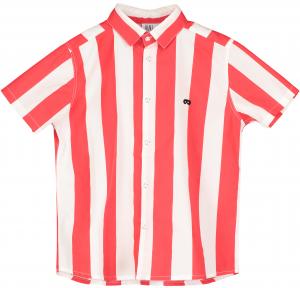 Camicia a righe bianche e rosse con stampe nere