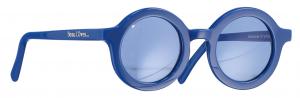 Occhiali da sole blu tondi con lenti chiare