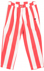 Pantalone a righe bianche e rosse