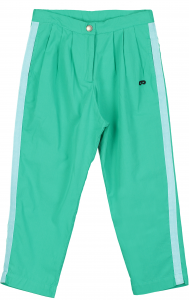 Pantalone verde con bande celesti